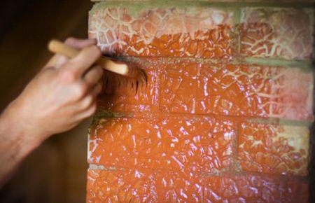 покрасить печь из кирпича
